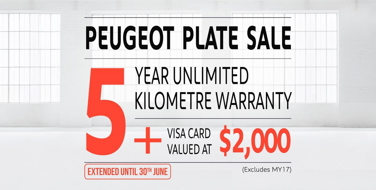 PEUGEOT 5 year unlimited km warranty + $2,000 Visa card offer