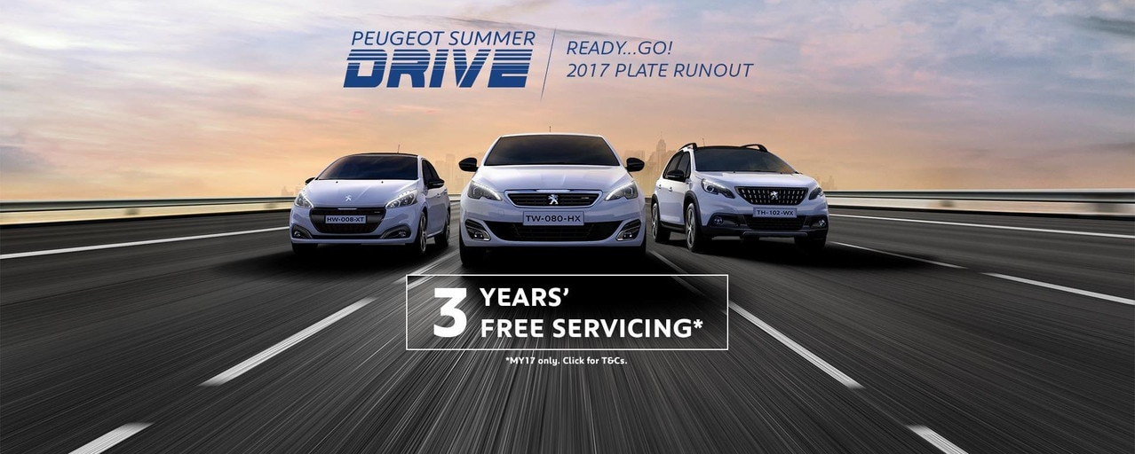 PEUGEOT 2017 Plate Runout 3 Years Free Servicing