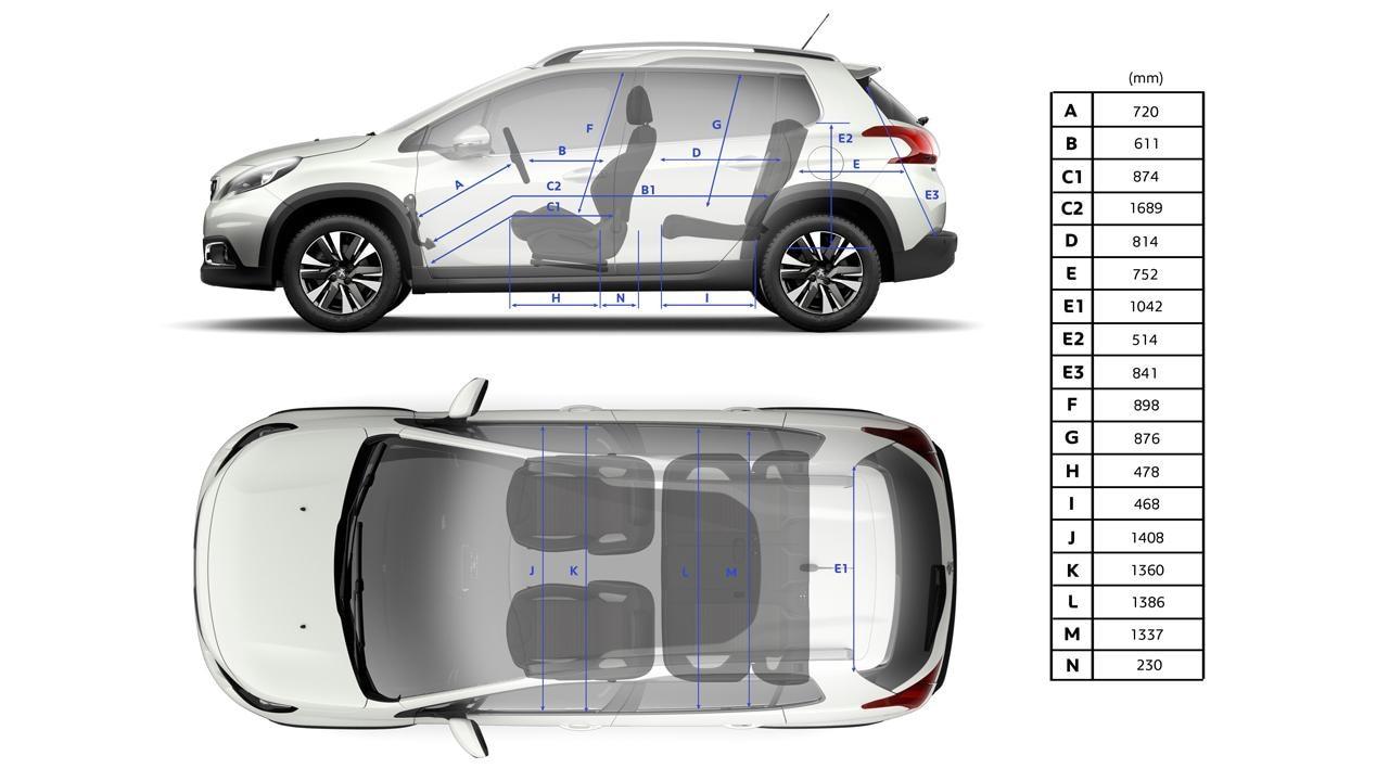Peugeot 2008 SUV interior dimensions