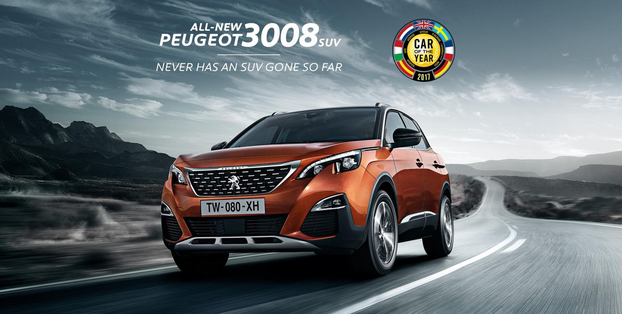 All-new PEUGEOT 3008 SUV. Never has an SUV gone so far.