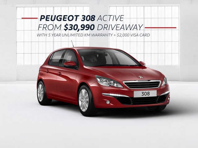 PEUGEOT 308 Active with 5 year warranty and $2,000 VISA card from $30,990 driveaway