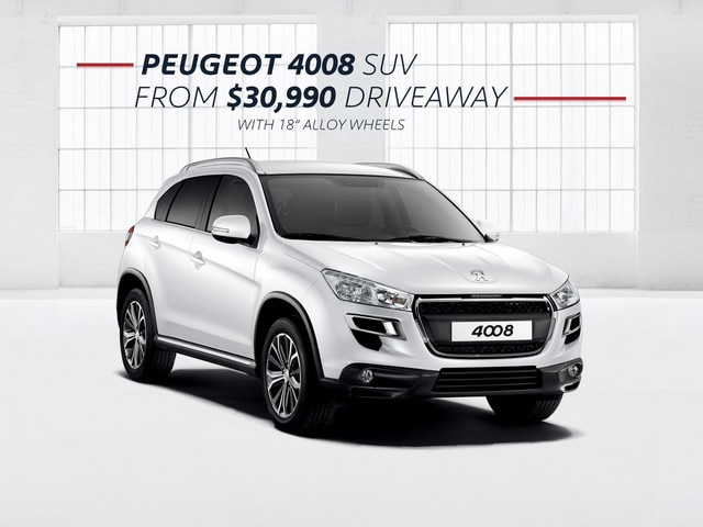 PEUGEOT 4008 SUV with 18-inch alloys from $30,990