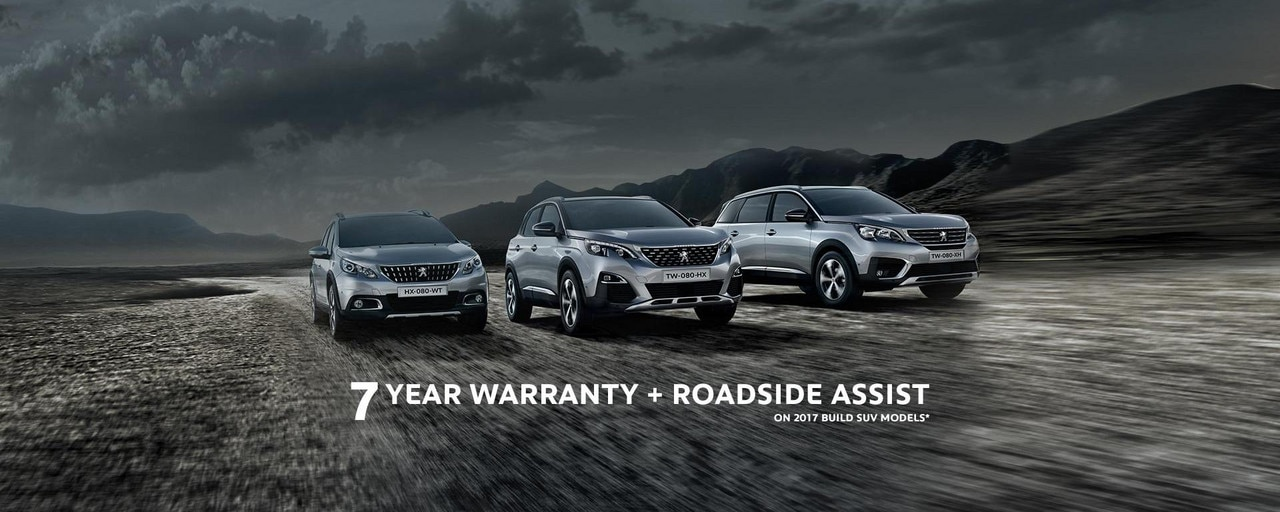 PEUGEOT SUV Range with 7 Year Warranty on 2017 build models
